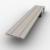 3D flatbed semi-trailer trailer model