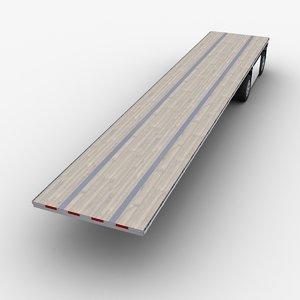 3D flatbed semi-trailer trailer model