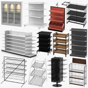 3D model display racks retail shelfs