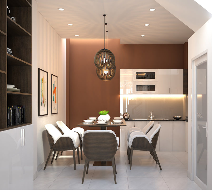 3D living room kitchen