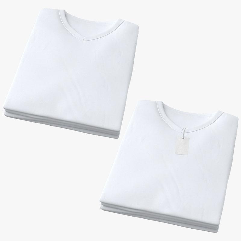 male v-neck t-shirts folded 3D model