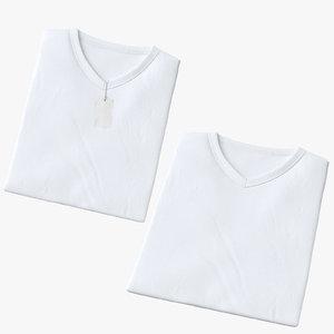 male v-neck t-shirts folded 3D