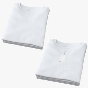 3D female v-neck t-shirts folded model