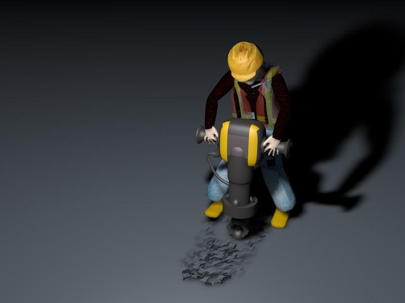 construction worker jack hammer 3D model