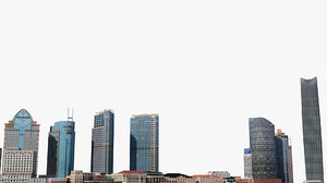 cityscape shanghai skyscrapers 3D model
