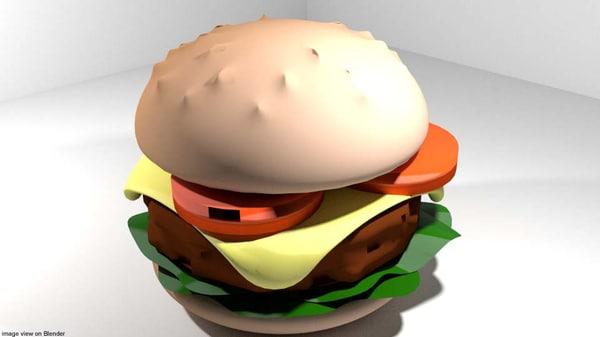burger fastfood food 3D model