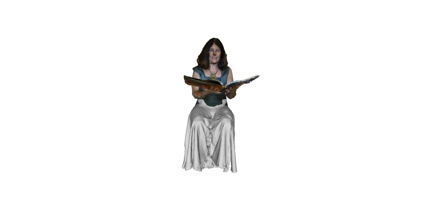 girl reading 3D model