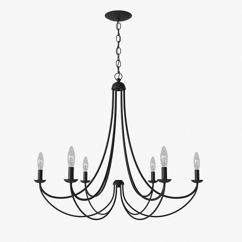 quoizel mirren 6-light chandelier 3D
