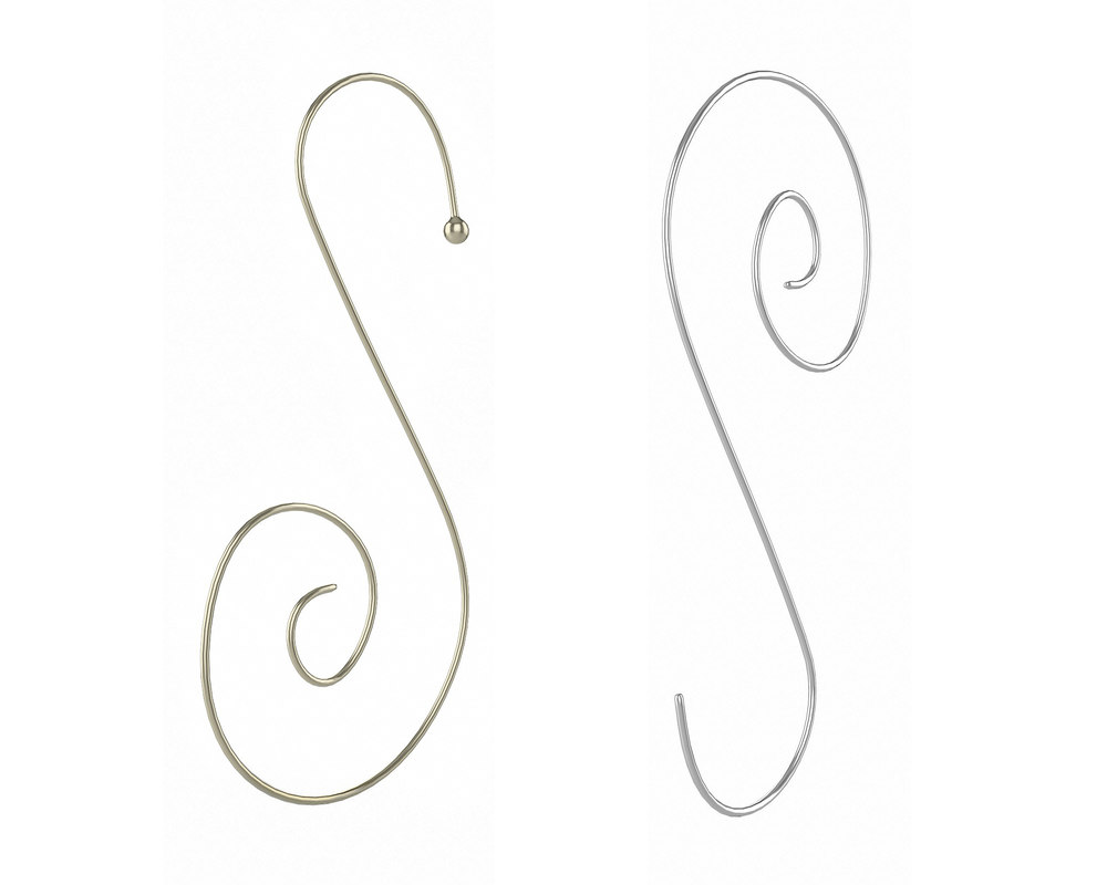 silver gold ornament hooks 3D