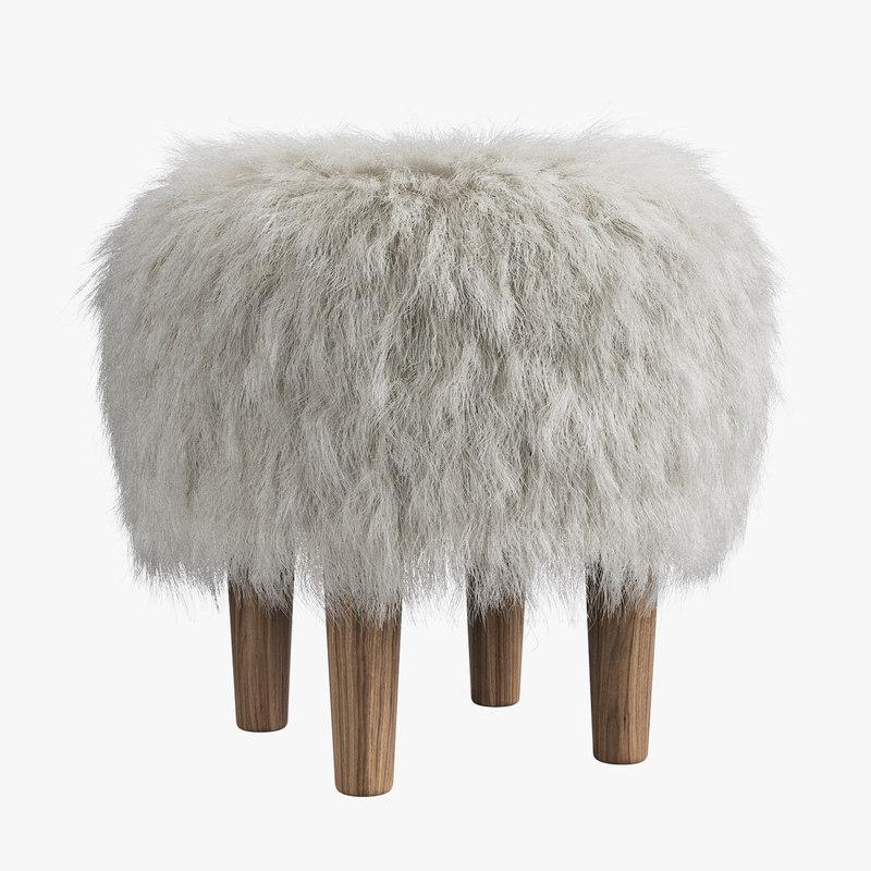 fur stool 3D model