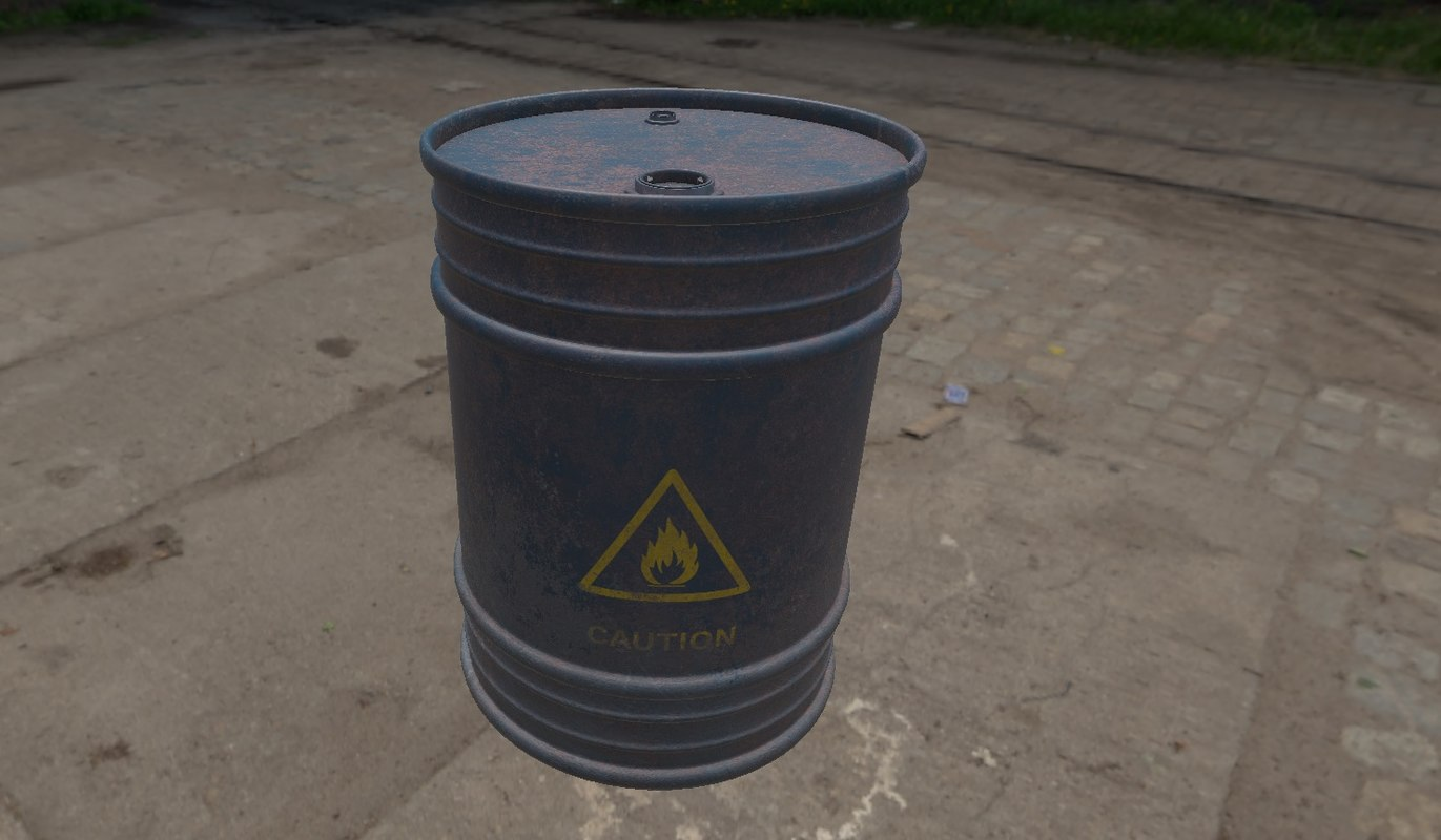 realistic steel barrels 3D model