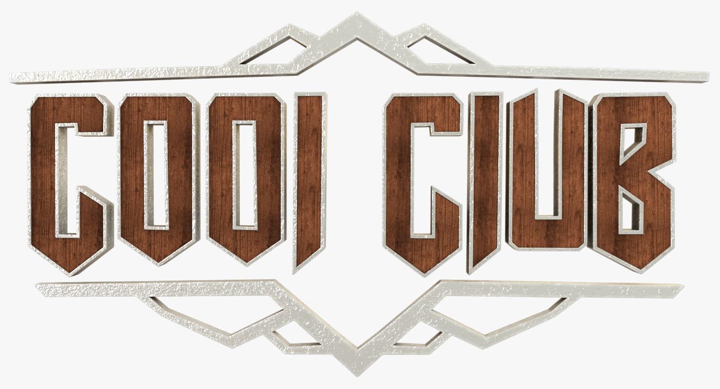 cool club logotype 3D model