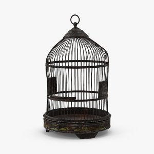 3D old bird cage