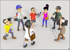 3D model reporter cartoon toon