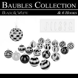 3D black white baubles hooks