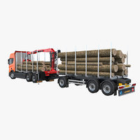 scania logging truck trailer 3D model