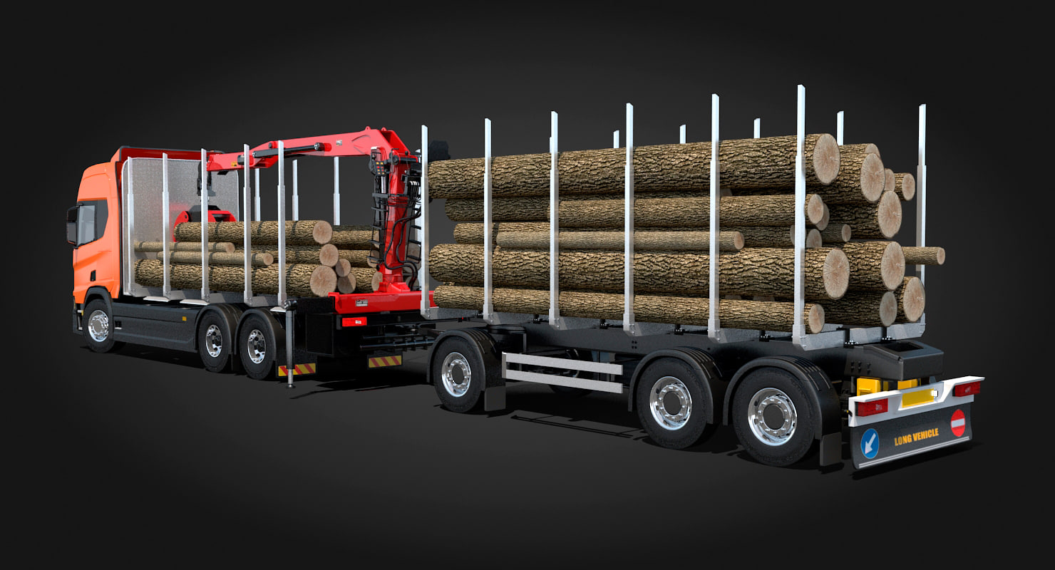 scania logging truck trailer 3D model