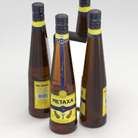 3D model metaxa 5 stars 750ml