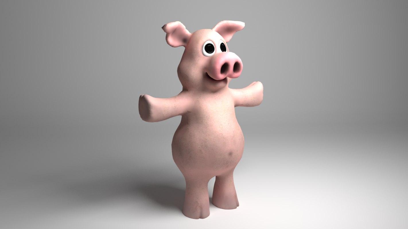 3D pig funny