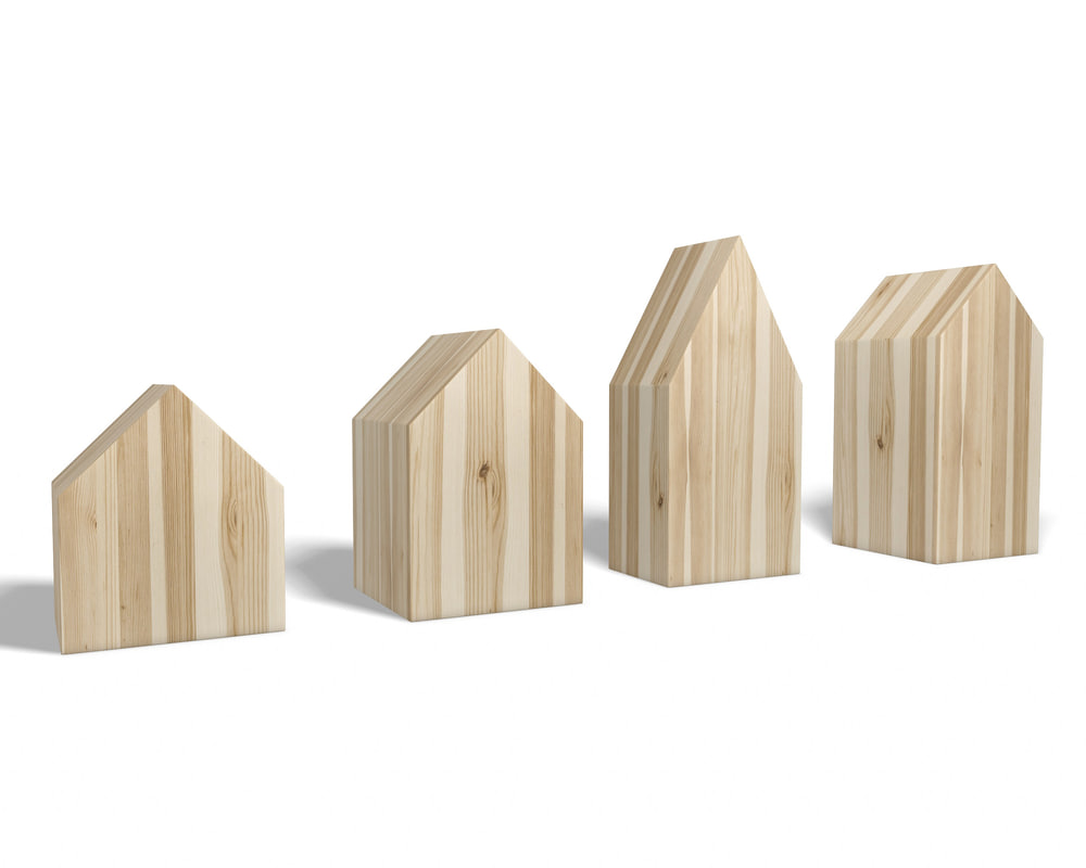 3D model miniature wooden houses -