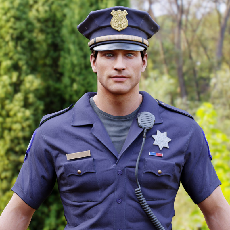 3D model police officer man character