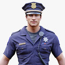 3D model police officer man character