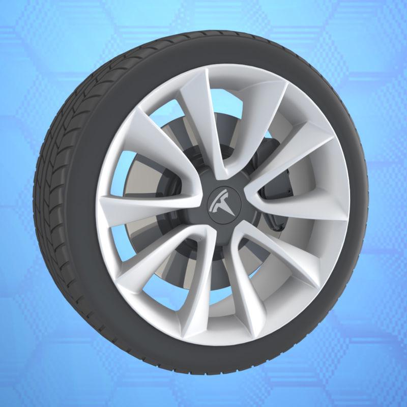 car wheel tesla 3 3D model