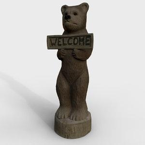 3D wooden bear