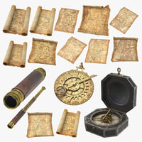 3D pirate astrolabe treasure compass model