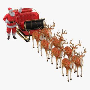 3D model santa claus reindeer standing
