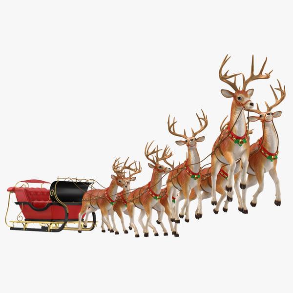 sleigh reindeers flying 3D model