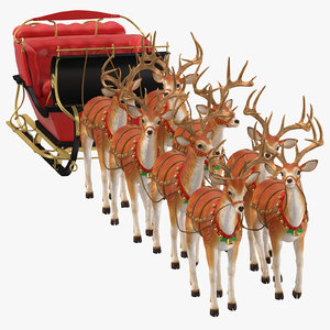 3D sleigh reindeers standing model