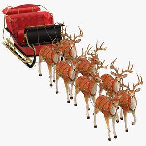 3D sleigh reindeers walking