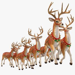 3D reindeer flying