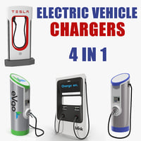 electric vehicle chargers charging 3D model