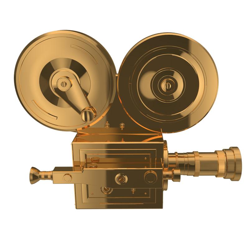 3D golden vintage camera model