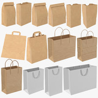 3D shopping bag mockups mock model