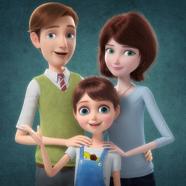 3D cartoon family rigged character model