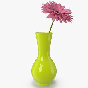 pink gerber flower vase 3D