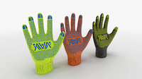 ready 3 color gloves 3D model