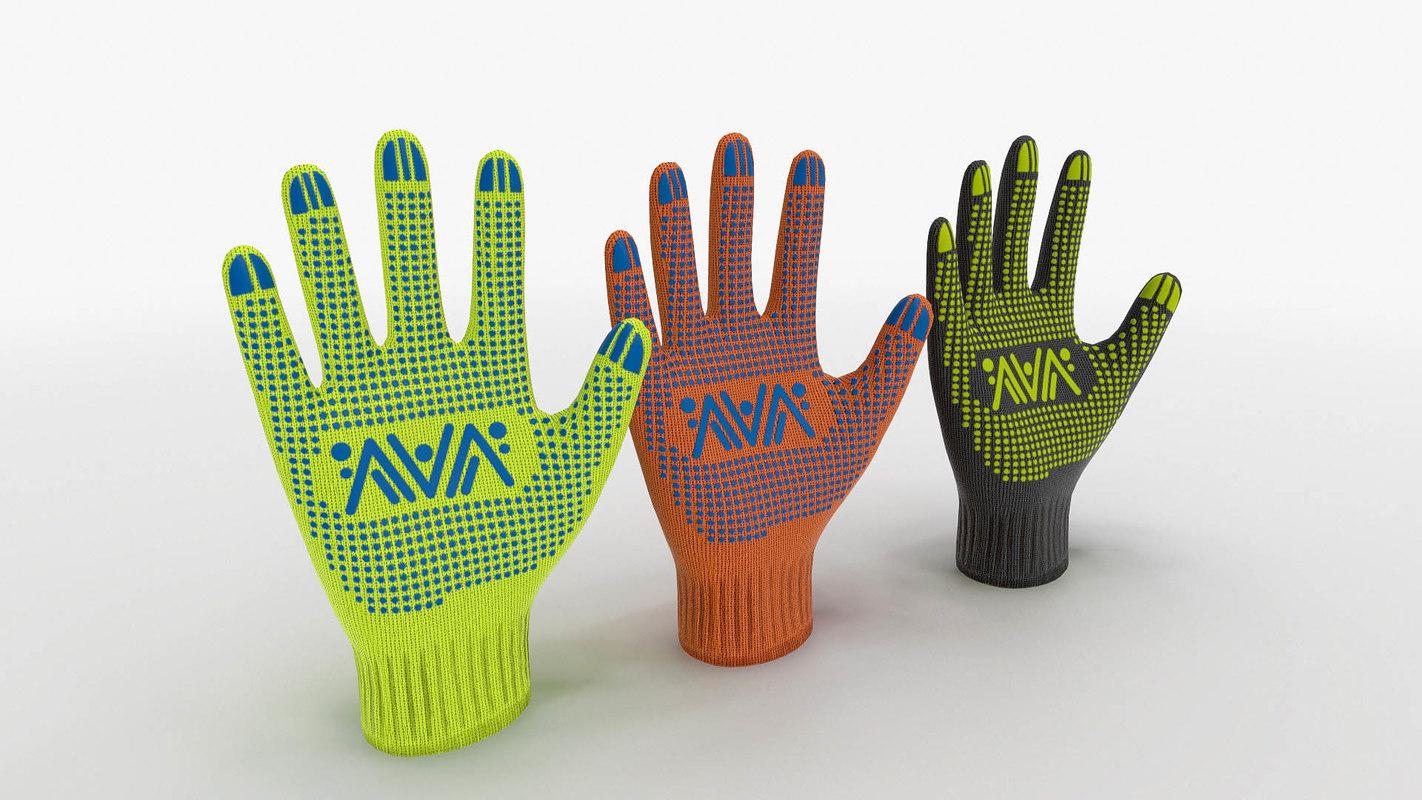 ready 3 color gloves 3D model