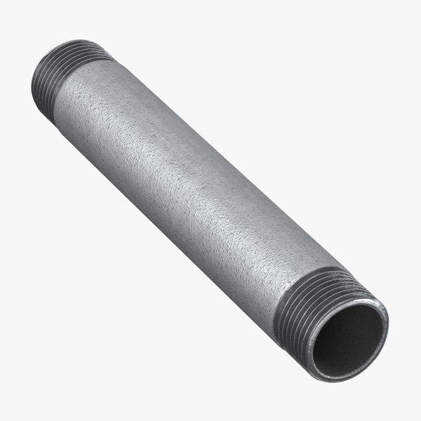 3D galvanized steel pipe 15cm model
