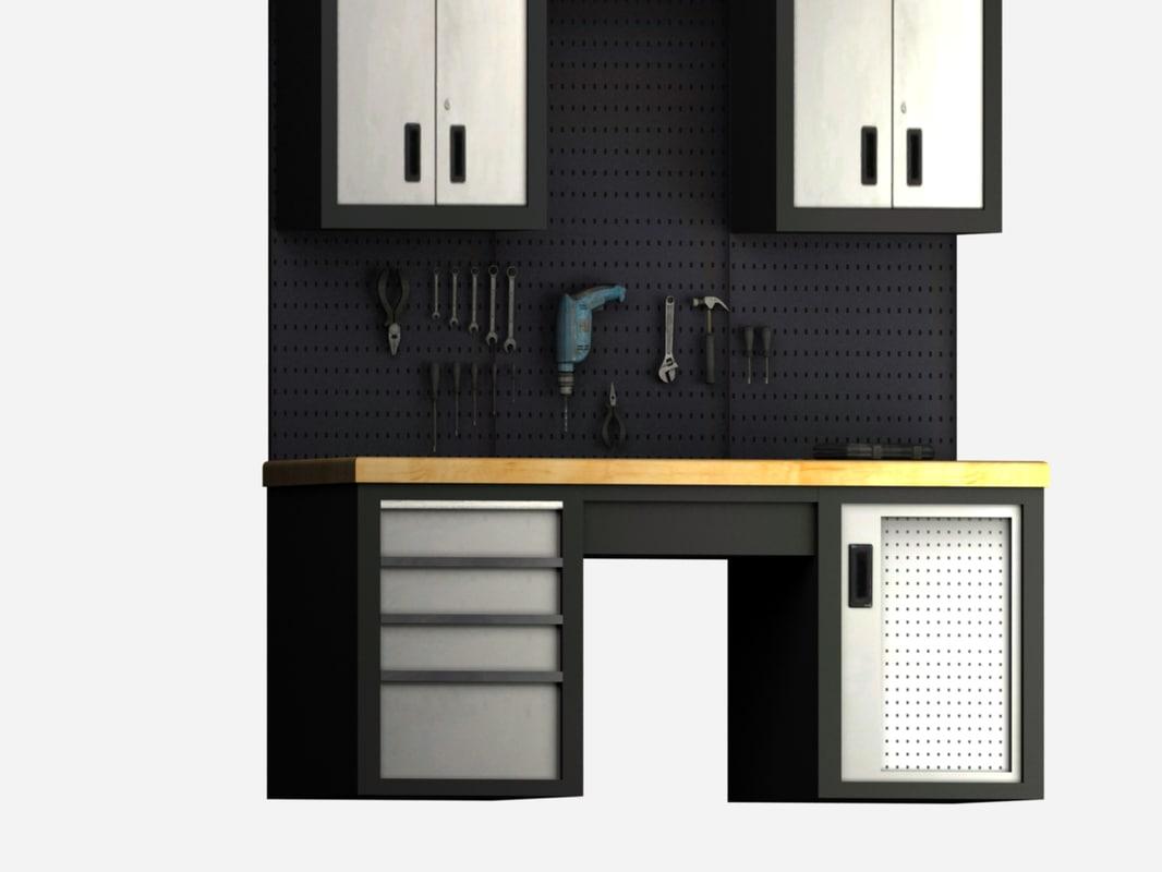 3D model garage tools storage