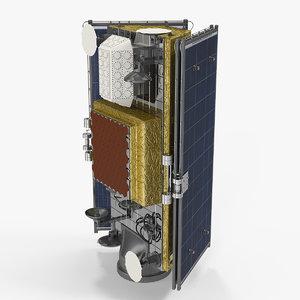 satellite collapsed solar panels 3D model