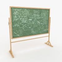 green chalkboard board 3D