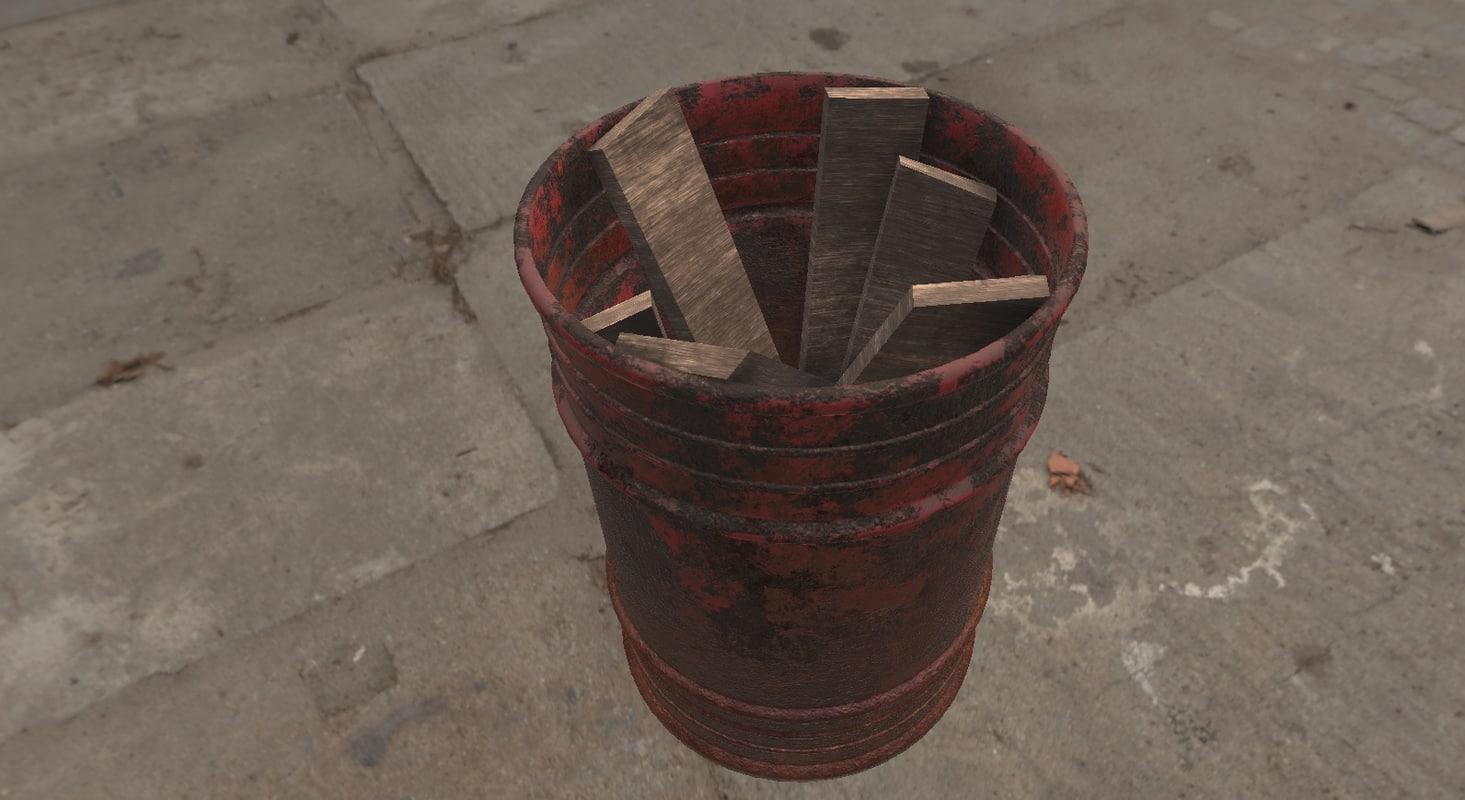 3D realistic steel barrels model