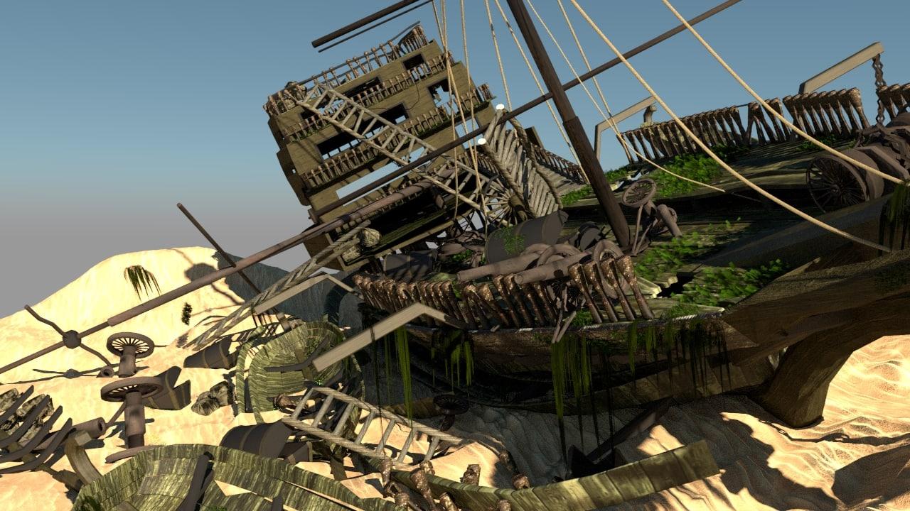 shipwreck cannon boat 3D