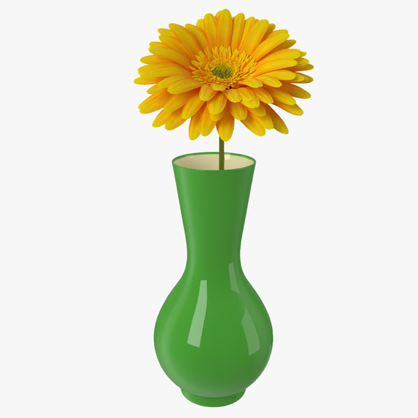 3D yellow gerbera flower vase