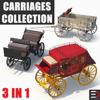 carriages old wooden 3D model