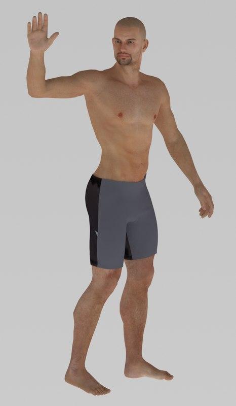 3D swiming man